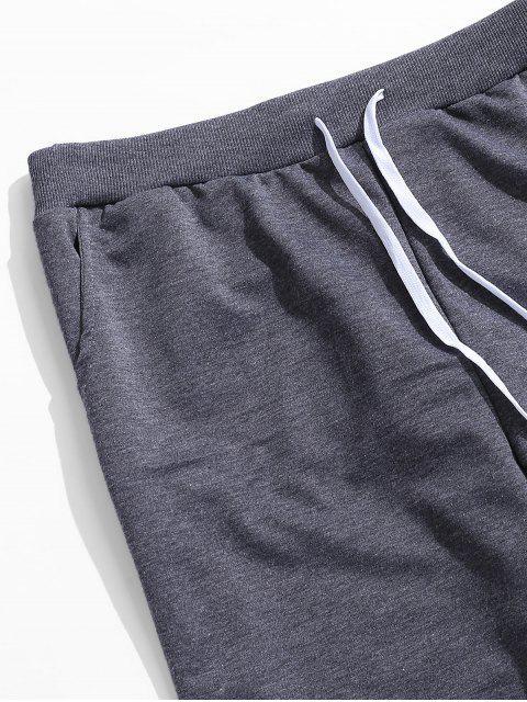 相比之下字母打印抽繩短褲慢跑者 - 深灰色 2XL Mobile