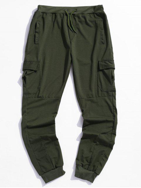 實邊翼口袋抽繩短褲慢跑者 - 軍綠色 L Mobile