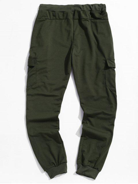 outfits Solid Side Flap Pocket Drawstring Jogger Pants - ARMY GREEN 3XL Mobile