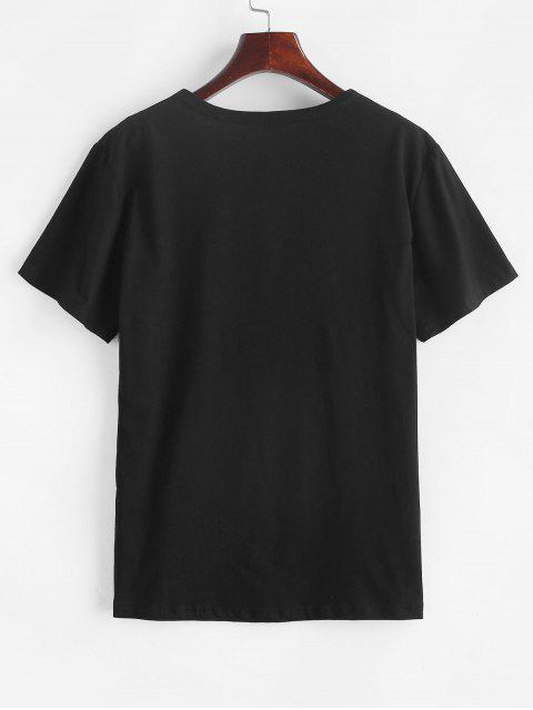 buy Short Sleeve Graphic Basic Tee - BLACK 2XL Mobile