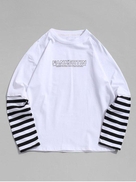 latest Striped Spliced Letter Print Faux Twinset T-shirt - WHITE S Mobile