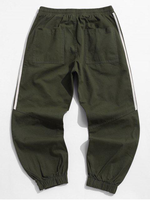 信條紋圖案休閒褲慢跑者 - 軍綠色 L Mobile