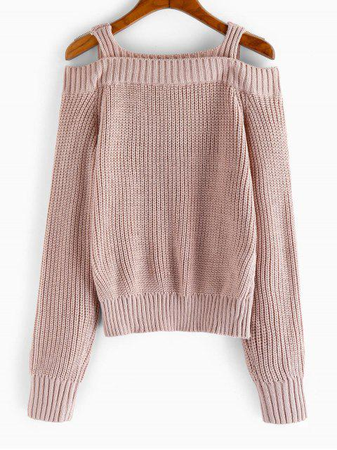 womens ZAFUL Cold Shoulder Cable Knit Sweater - PINK ROSE S Mobile