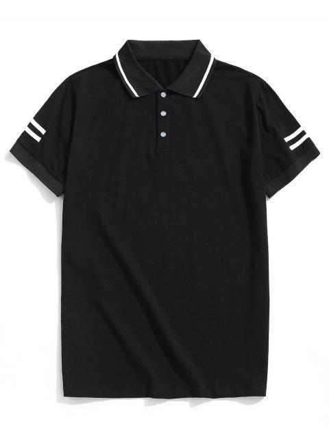 條紋調低領短袖T卹 - 黑色 XL Mobile