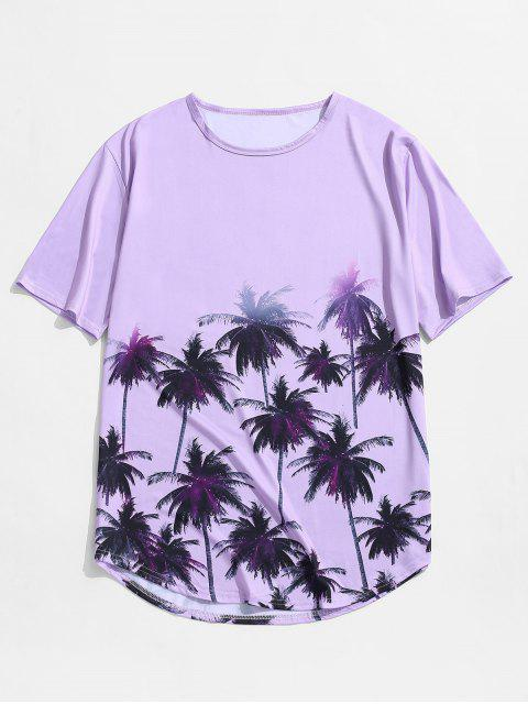 outfits Palm Tree Print Vacation Short Sleeve Tee - PURPLE L Mobile