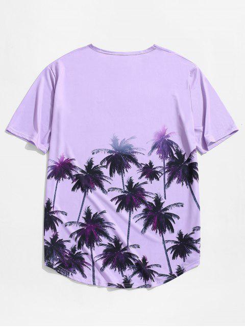 棕櫚樹度假打印短袖T卹 - 紫色 2XL Mobile