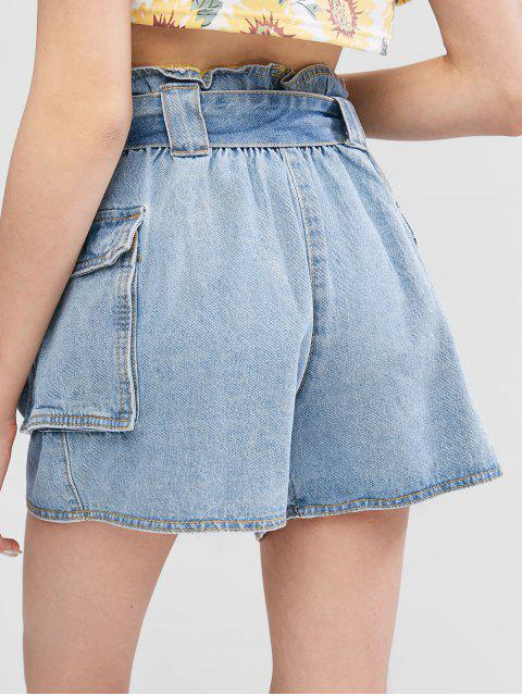 ZAFUL Shorts de Denim con Bolsillos y Shorts - Azul M Mobile