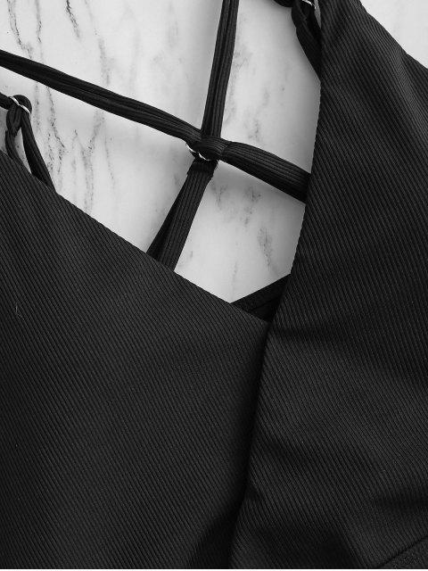 ZAFUL Costume da Bagno Tankini con Cravatta Arricciata ZAFUL a Taglio Alto - Nero XL Mobile
