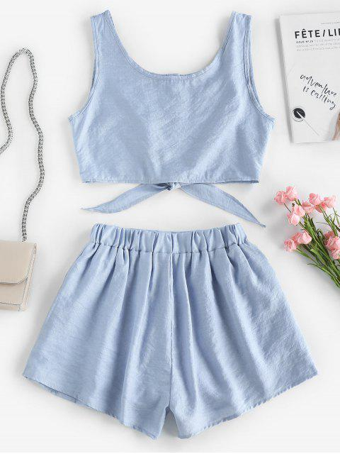 Set Top Corto Sin Mangas y Shorts - Azul claro M Mobile