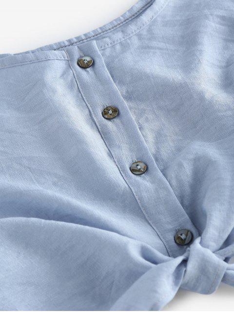 Set Top Corto Sin Mangas y Shorts - Azul claro L Mobile