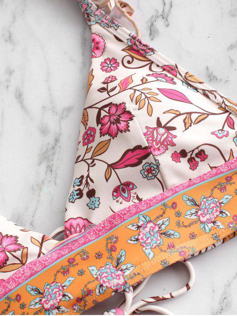 ladies ZAFUL Ruffle Lace-up Plant Print Bikini Swimsuit - WARM WHITE S Mobile