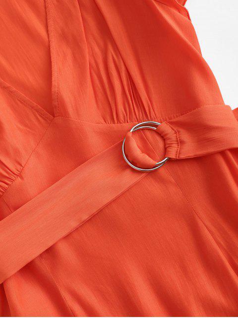 Abito ZAFUL Floreale con Cintura e Maniche Corte con Volant e Scollo Profondo di ZAFUL - Arancione brillante XL Mobile