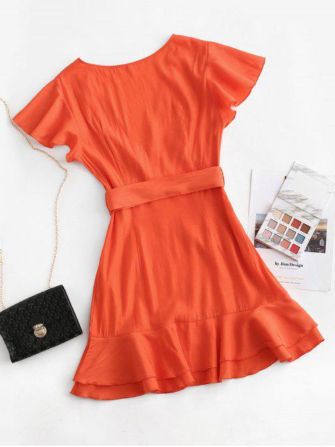 hot ZAFUL Flutter Sleeve Plunging Belted Flippy Hem Dress - BRIGHT ORANGE XL Mobile