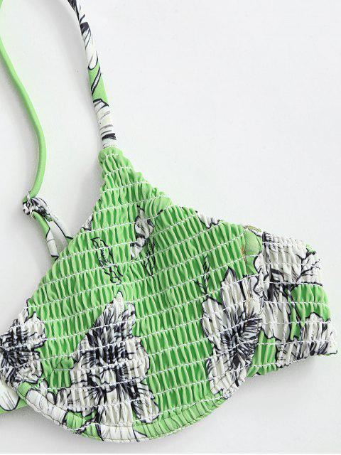 ZAFUL Blumen Kittel Bügel Bikini Badebekleidung - Grün L Mobile