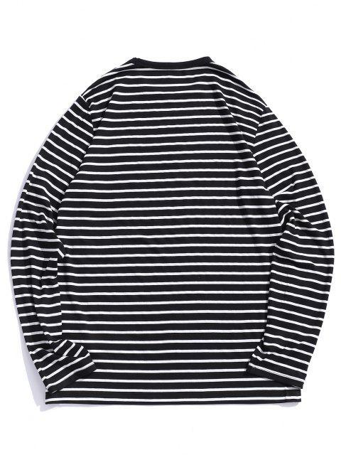 ZAFUL Camiseta de Manga Larga de Rayas de Bordado - Negro 2XL Mobile