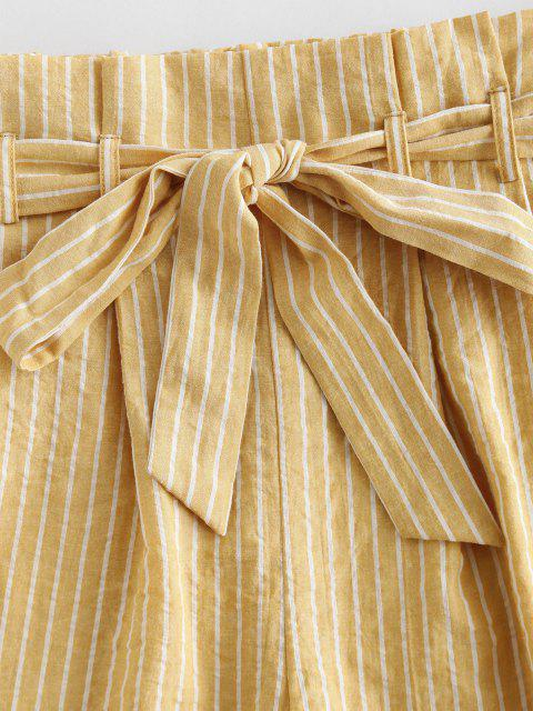lady ZAFUL Striped High Waisted Paperbag Shorts - SUN YELLOW XL Mobile