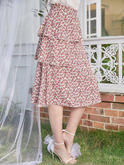 ZAFUL Back Zipper Layered Ruffles Rose Floral Skirt - Warm White Xl
