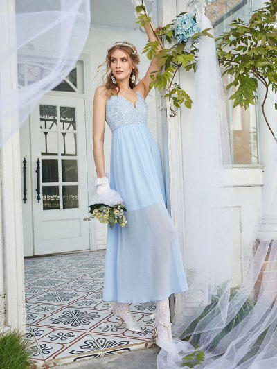 ZAFUL Lace Bodice Chiffon Bridesmaid Dress - Light Sky Blue L