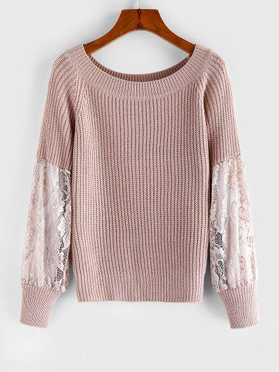 ZAFUL Lace Insert Raglan Sleeve Sweater - Pink Rose M