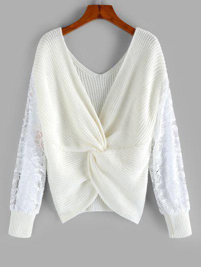 ZAFUL Lace Insert Back Twist Sweater - White L