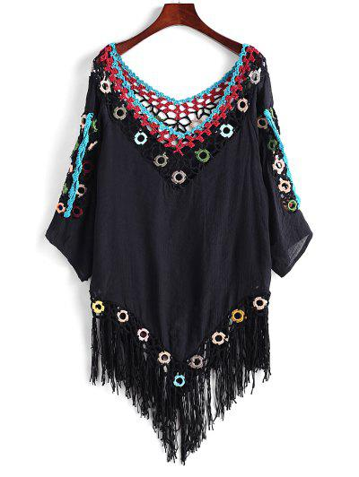 Crochet Panel Ring Fringed Cover up Top