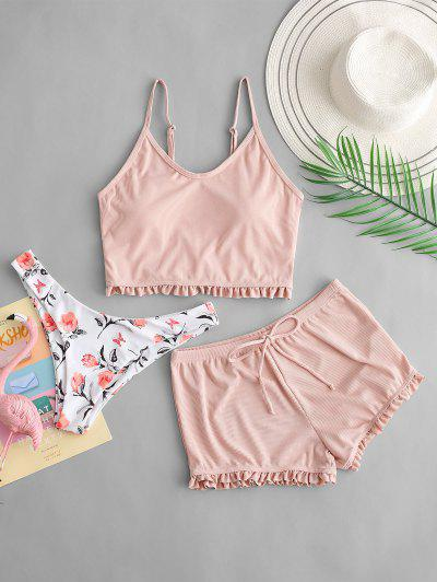 ZAFUL Frilled Floral Ribbed Three Piece Tankini Swimsuit - Light Pink L