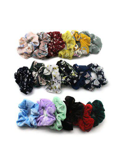 18PCS Vintage Hair Scrunchies - Multi-a