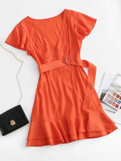 ZAFUL Flutter Sleeve Plunging Belted Flippy Hem Dress - Bright Orange L