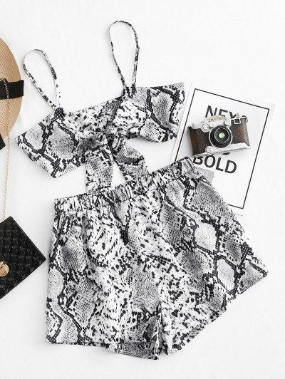 ZAFUL Cropped Tie Front Snake Print Two Piece Set - Gray Xl