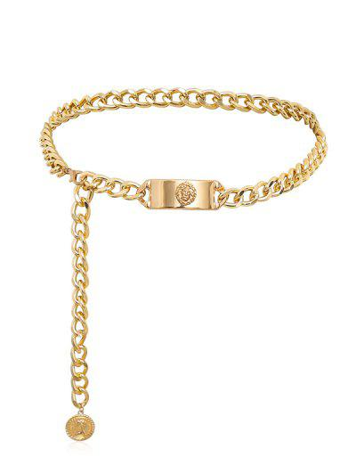 Embossed Lion Pattern Curb Chain Waist Chain - Gold