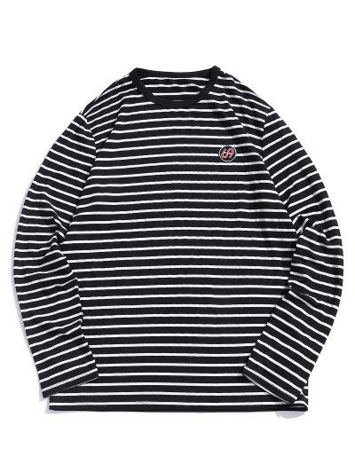ZAFUL Number Embroidery Striped Long Sleeve T-shirt - Black M