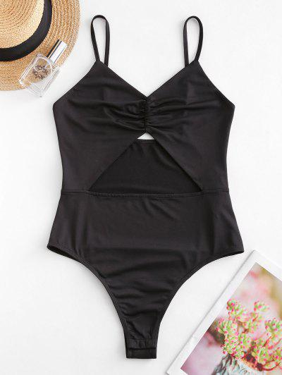 ZAFUL Cut Out Backless Ruched Cami Bodysuit - Black Xl
