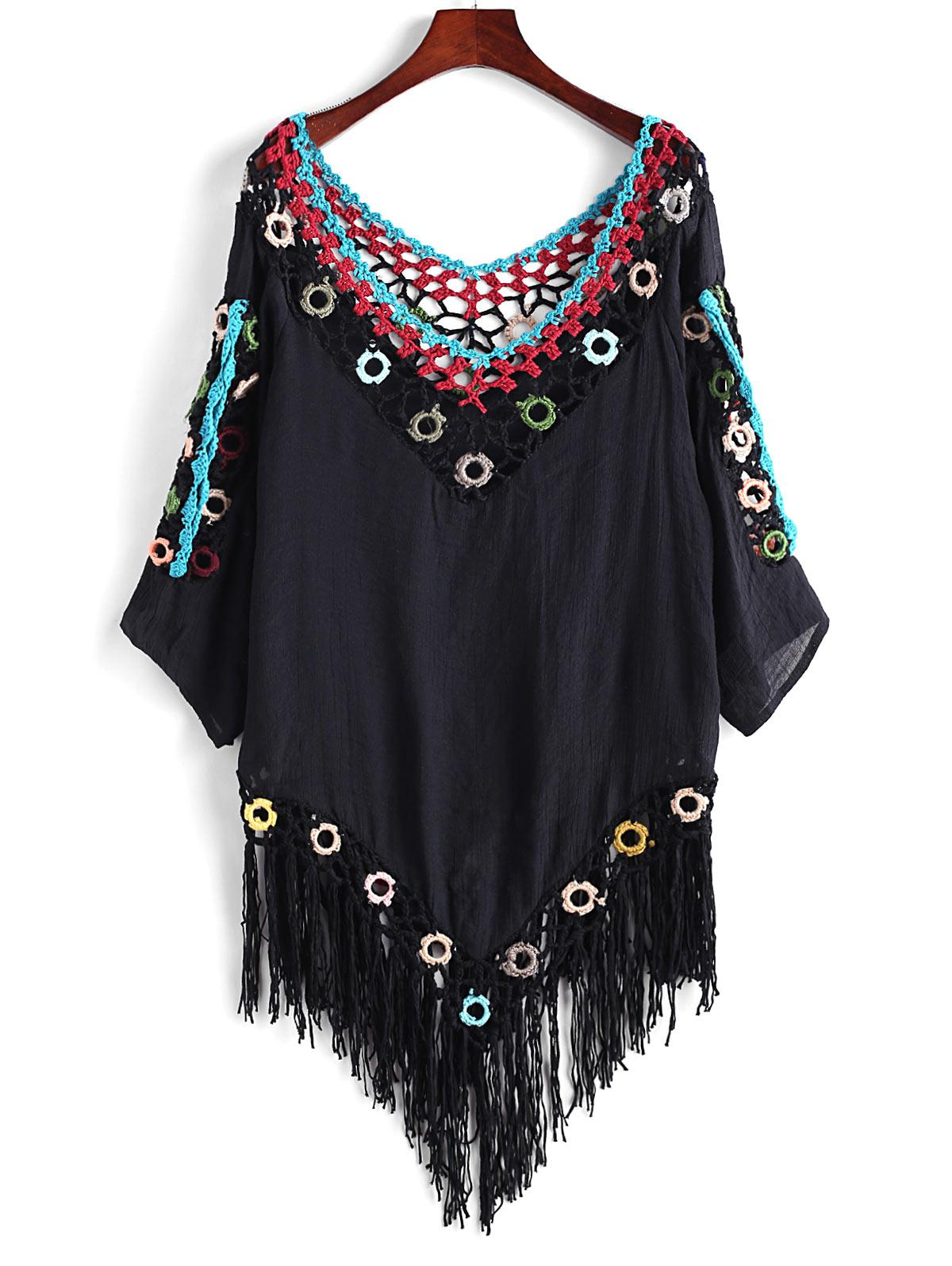 Crochet Panel Fringed Beach Top, Black