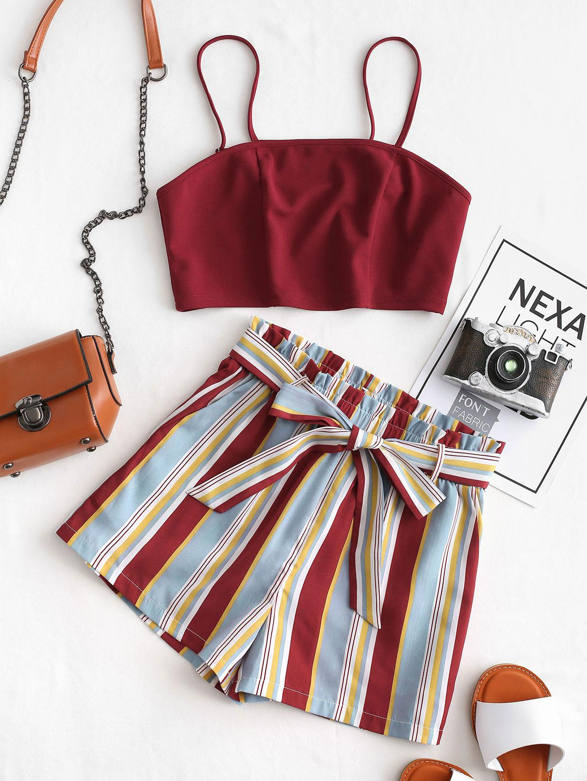 ZAFUL Cropped Belted Striped Two Piece Set