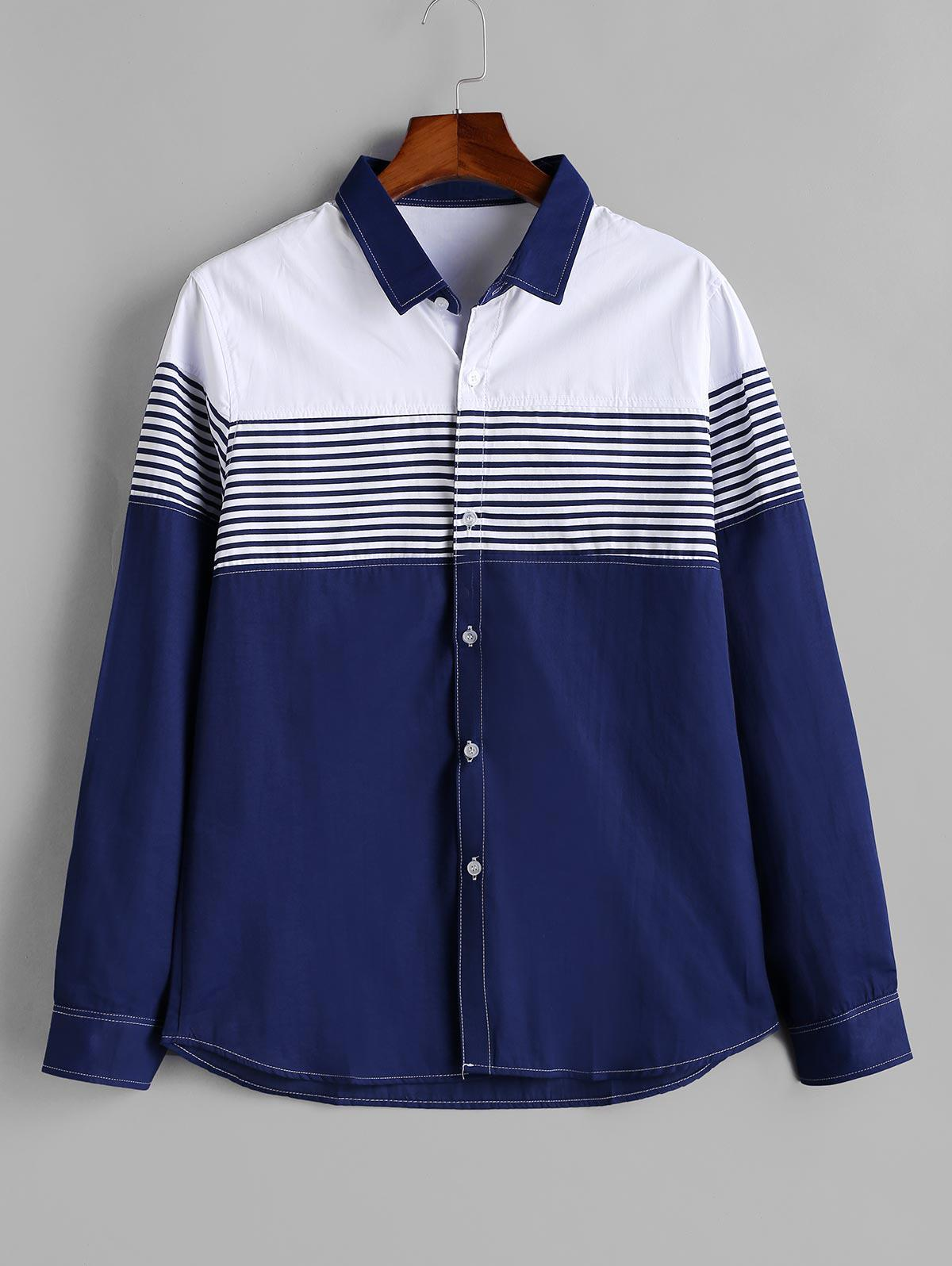 Striped Colorblock Long Sleeve Button Shirt thumbnail