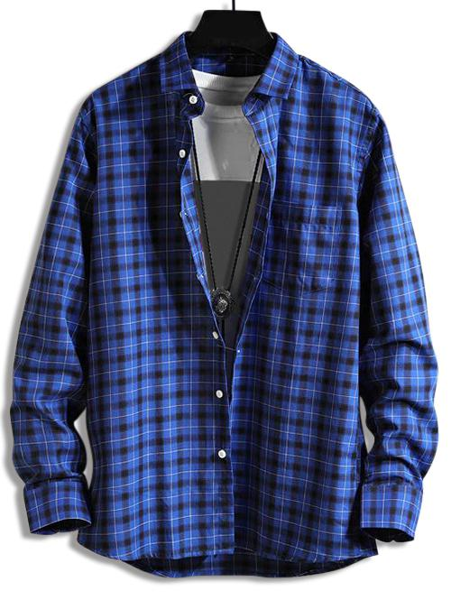 Plaid Print Pocket Long-sleeved Shirt фото