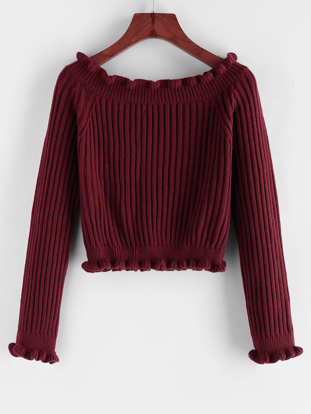 ZAFUL Ribbed Ruffle Raglan Sleeve Crop Sweater