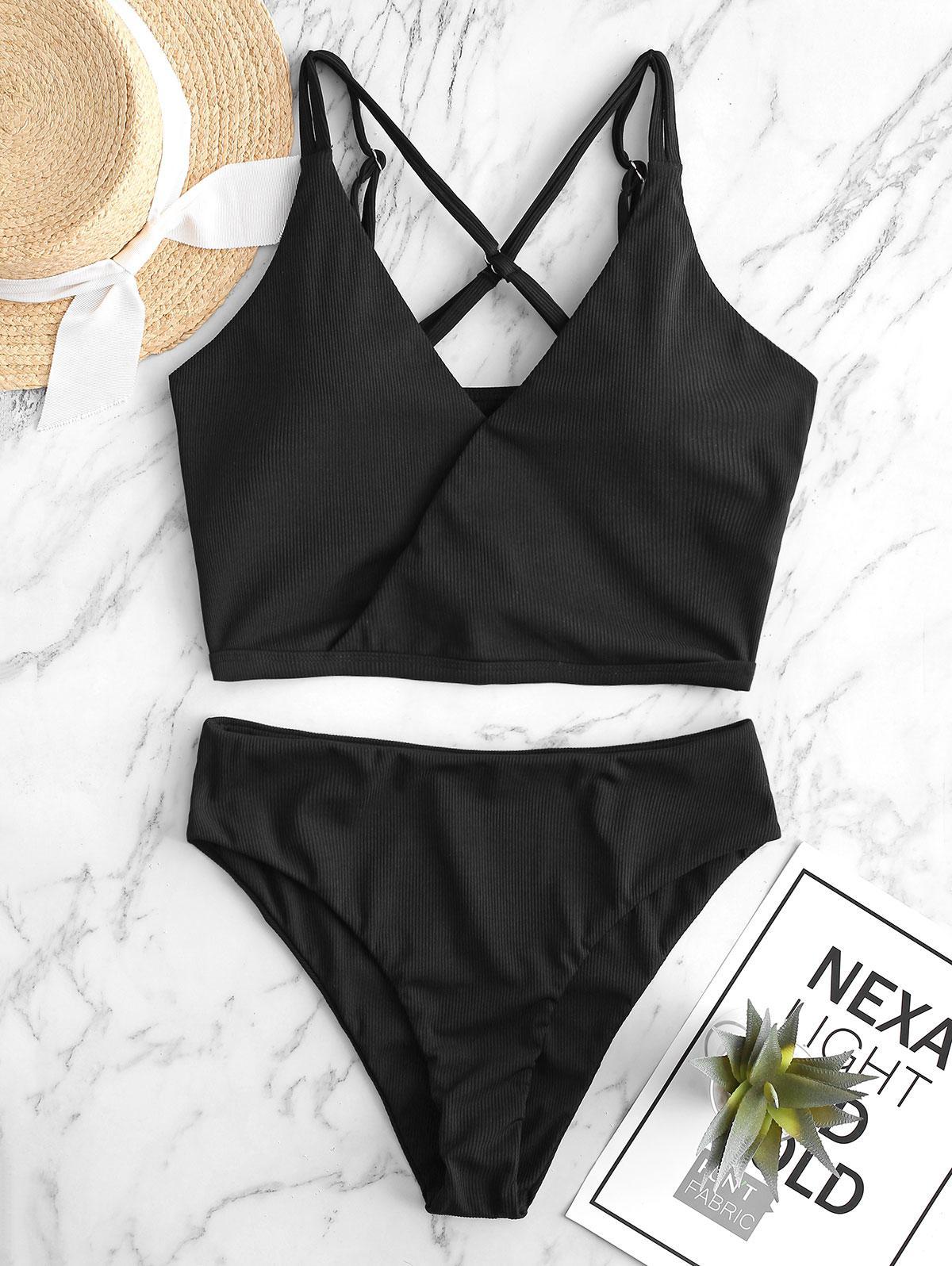 ZAFUL Ribbed Cross High Cut Dual Strap Tankini Swimsuit фото
