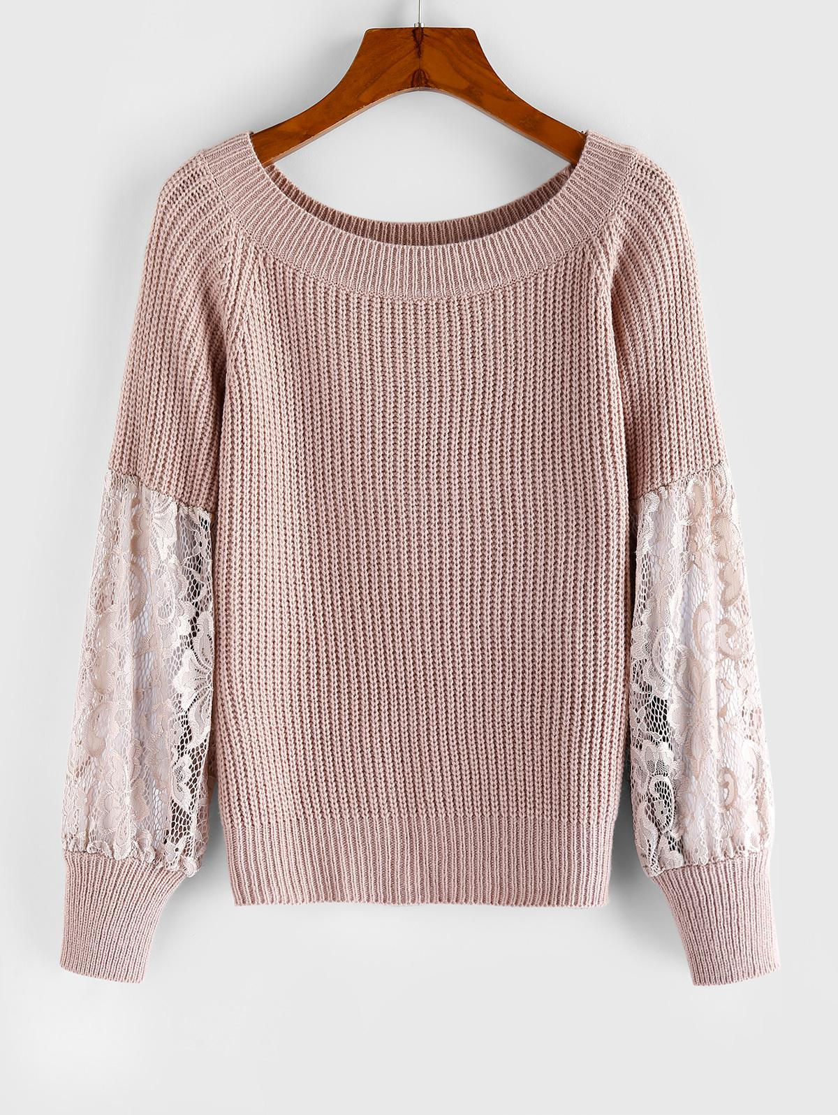 ZAFUL Lace Insert Raglan Sleeve Sweater