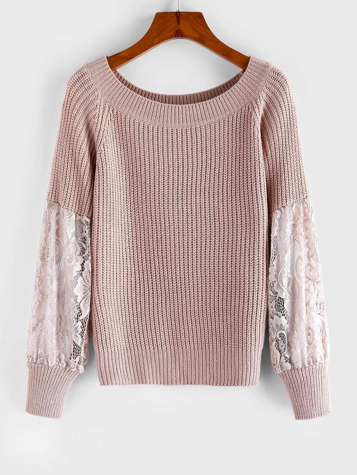 ZAFUL Lace Insert Raglan Sleeve Sweater