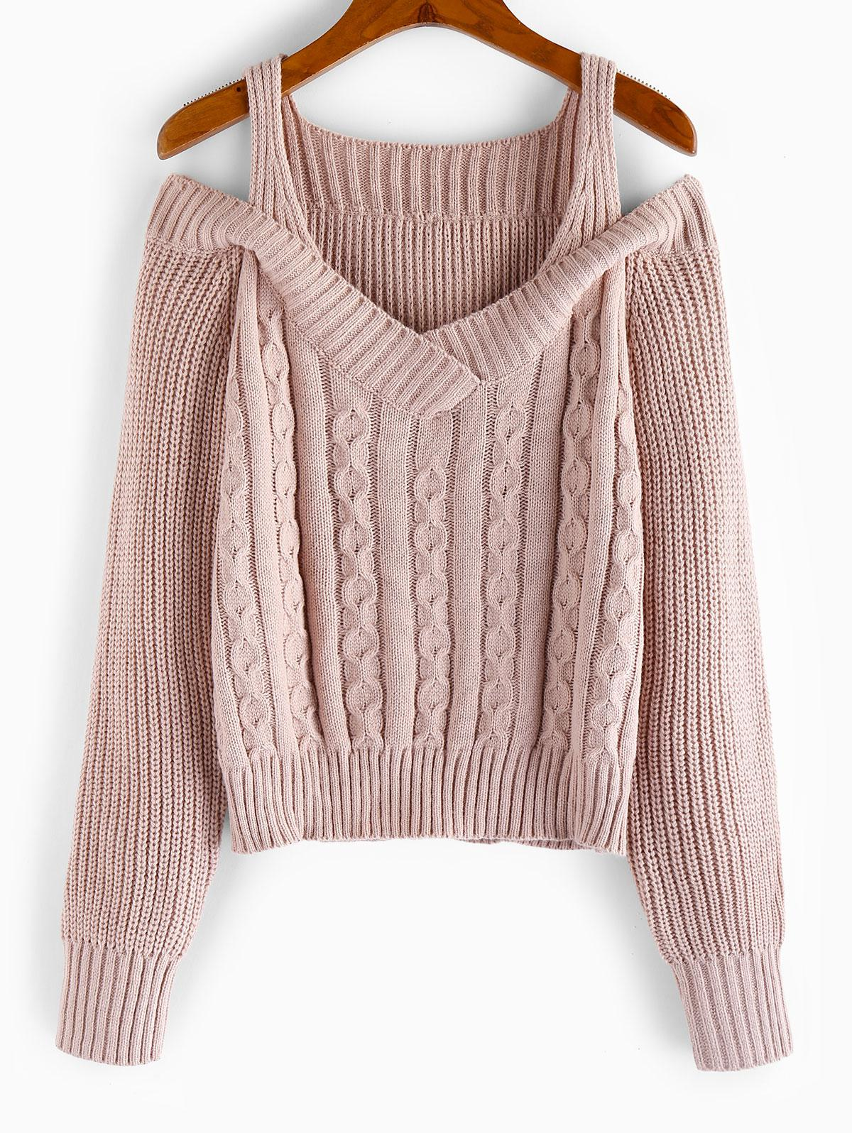 ZAFUL Cold Shoulder Cable Knit Sweater фото