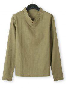 Stand Collar Henley Long Sleeve Shirt