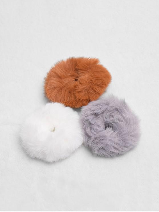 chic 3Pcs Faux Fur Scrunchies Set - MULTI-A