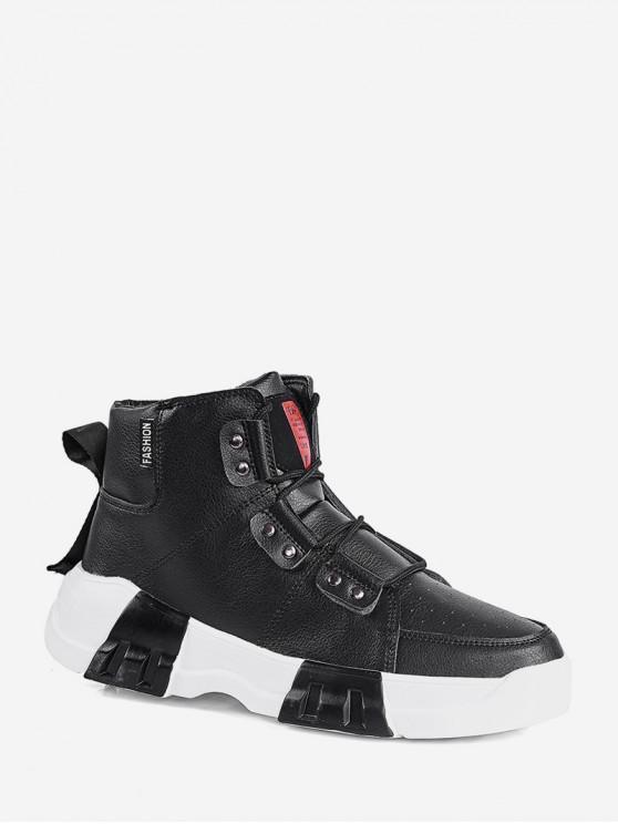lady Mid Top PU Leather Platform Sneakers - BLACK EU 41