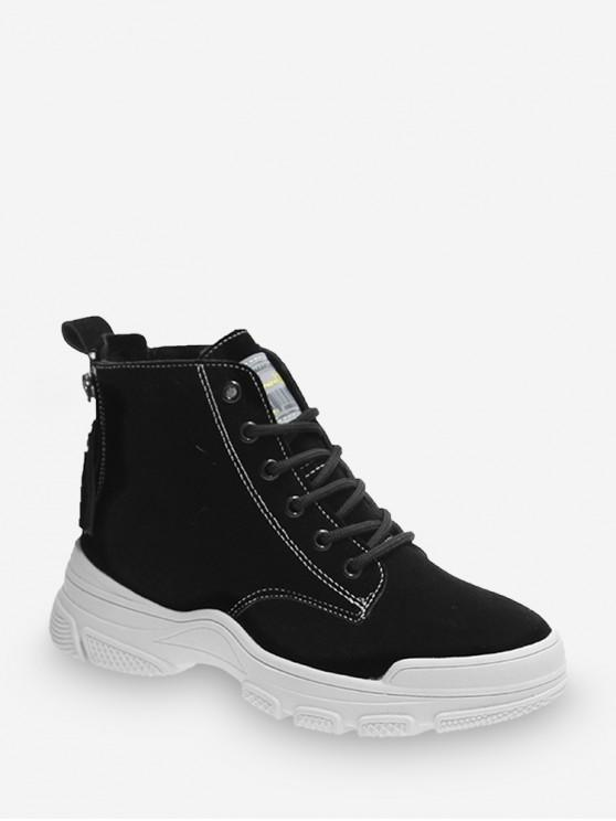 outfits Back Zip Casual Suede Sneaker Boots - BLACK EU 39
