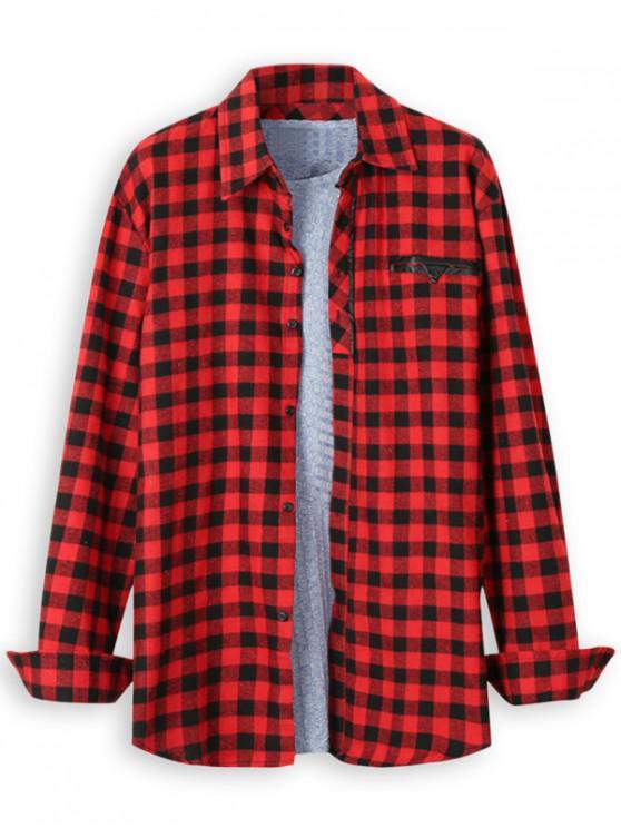 womens Plaid Print Faux Pocket Long Sleeve Shirt - RED 2XL