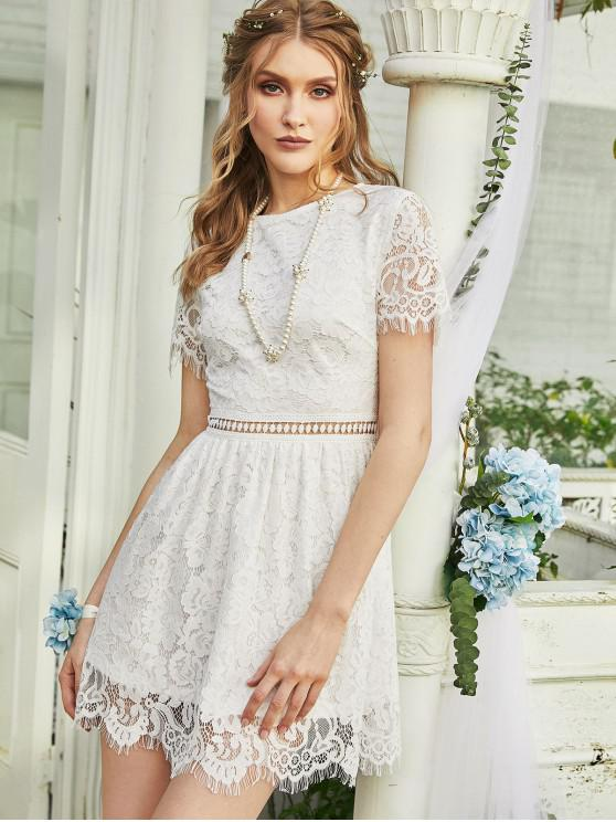 affordable ZAFUL Floral Lace Openwork A Line Dress - WHITE L