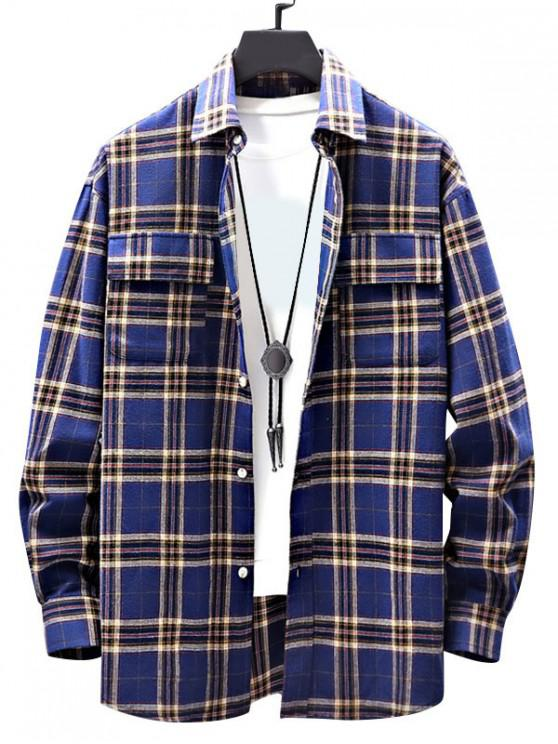 hot Casual Plaid Pattern Double Pocket Shirt - BLUE M