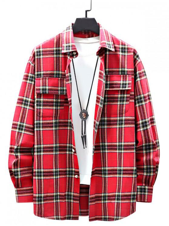 shops Casual Plaid Pattern Double Pocket Shirt - RED XL