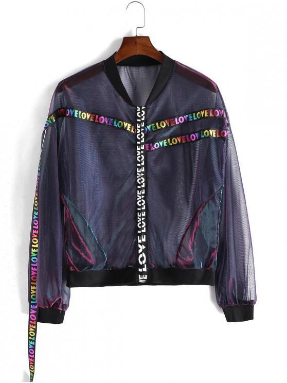 affordable Valentine Metallic Love Letter Ribbon Mesh Jacket - BLACK S
